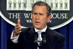 US President George W. Bush has his first press co